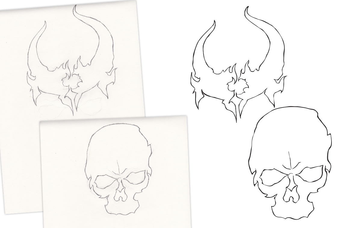 Demon Hunter Skull Drawing portfolio item